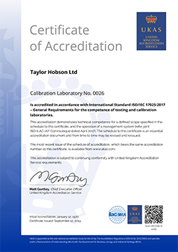 Taylor Hobson Certificate of Accreditation